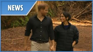 Prince Harry and Meghan Markle take a stroll through the forest
