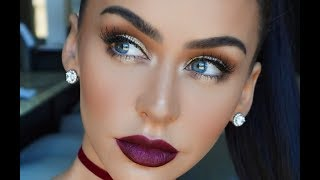FALL MAKEUP: GOLD EYES & BERRY LIPS | Carli Bybel