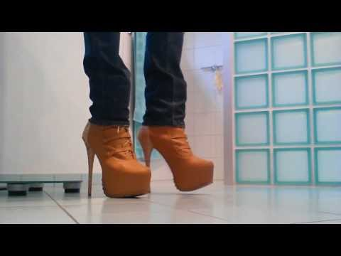 walking in sexy high heels - 7 inch 18 cm boots with plateau