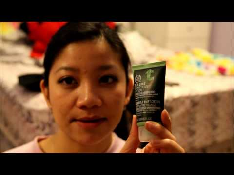 Skin care for acne/hyperpigmentation with The Body Shop tea tree face system