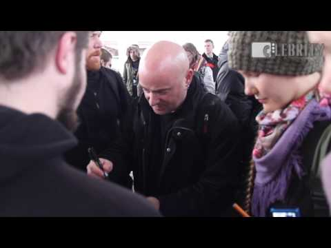 David Draiman from Disturbed greet fans on train station in Moscow, 15.03.2017