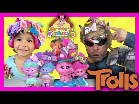 TROLLS' Poppy Hair Style Station Toys Review, Egg Surprise & Funny Daddy Thor in 4K UHD