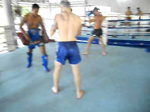 Pad Training Session At Patong Muay Thai Boxing Gym In Thailand