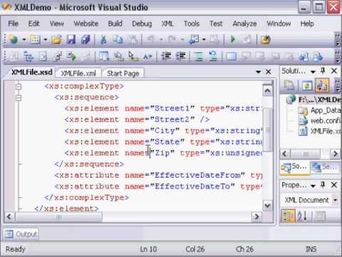 Как создать xsd схему в visual studio
