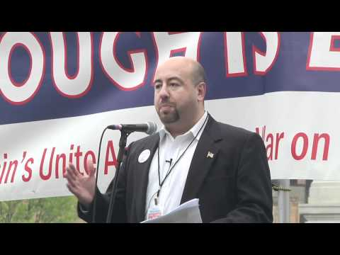 Yuri Rashkin speaking at Unite Against the War on Women rally in Madison, WI on April 28, 2012