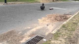 Traxxas brushed slash pulls alex on skateboard