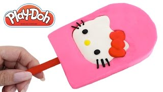 Play Doh How to Make a Giant Hello Kitty Ice Cream Popsicle RainbowLearning