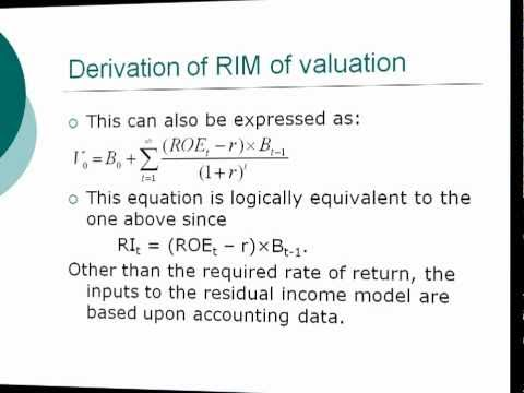 residual income valuation model formula