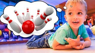 Vlad and Nikita Children and Parents playing Bowling