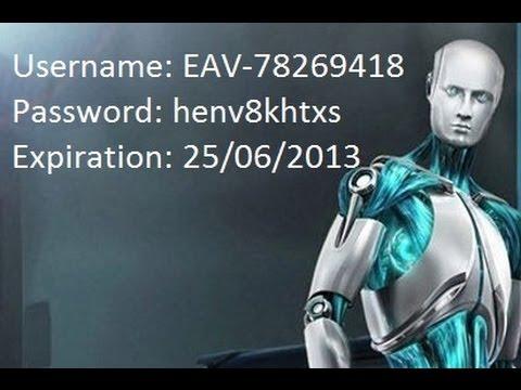 ESET NOD32 ANTIVIRUS 6 USERNAME AND PASSWORD 25.06.2013