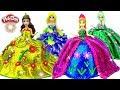 Learn how to make Play Doh Fashion Glitter Dresses for Anna, Elsa Magic Clip Dolls