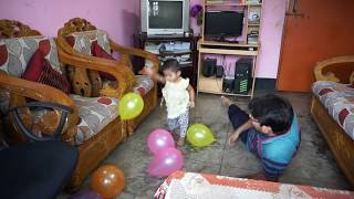 One year baby and father play with balloons | my baby fear with balloons blast