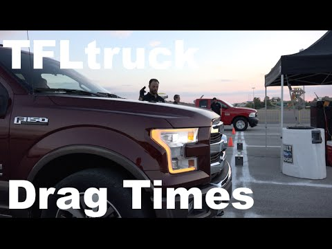 Drag Times: 2015 Ford F-150 5.0L vs 2.7L vs 3.5L EcoBoost vs Chevy Silverado vs Ram HEMI