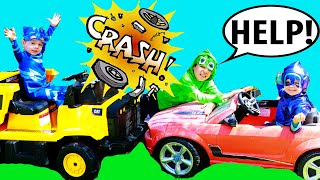 PJ Masks NIGHT NINJA TROUBLE Crashes CAR! Catboy & Gekko Get Catboy Car Back to PJ Masks HQ!
