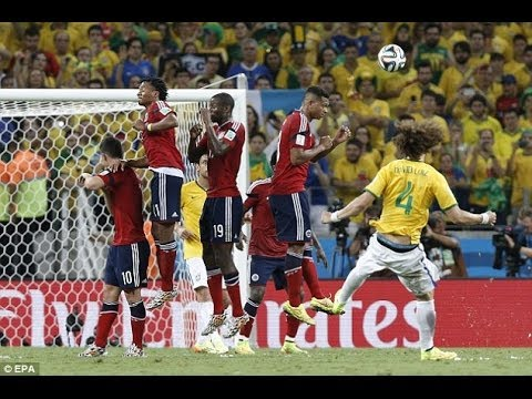 World Cup 2014:Brazil 2-1 Colombia David Luiz sends hosts to semi-finals with stunning free-kick