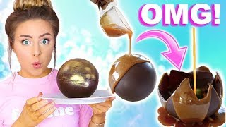 DIY Crazy Huge Edible Melting Chocolate Ball Tested! Disaster!