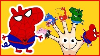Peppa Pig Finger Family Spider Man Hulk Iron Man Nursery Rhymes Song For Children