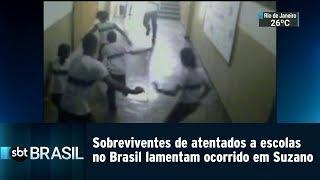 Sobreviventes de atentados a escolas no Brasil lamentam ocorrido em Suzano | SBT Brasil (13/03/19)