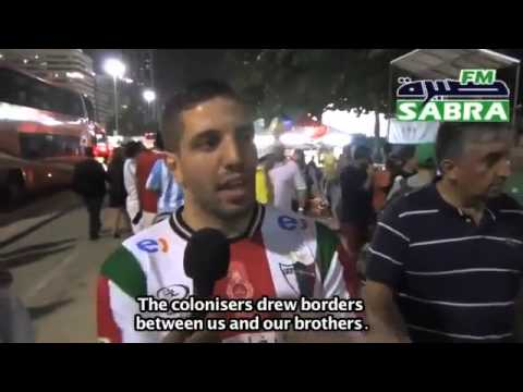 An Algerian speaks about Palestine at the World Cup in Brazil