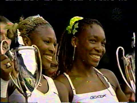2002 Wimbledon doubles final: Venus and Serena Williams trophy presentation