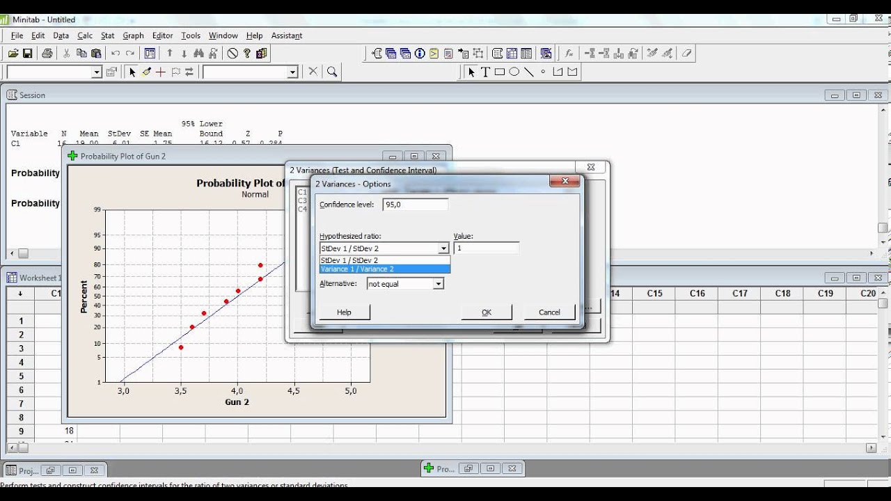 tutorial statistics minitab how to use two sample test