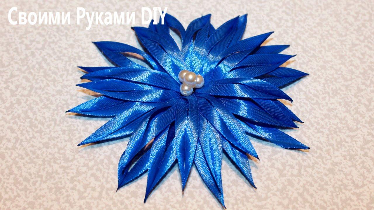 Цветок КАНЗАШИ из Узкой Ленты Мастер Класс/ DIY Kanzashi Flower - YouTube