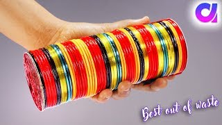 how to reuse old waste bangles   waste bangles crafts   Best out of waste   Artkala 273