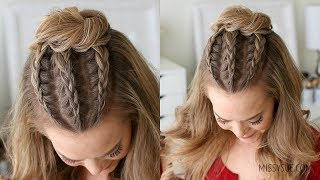 Half Up Triple Braid Mini Bun | Missy Sue