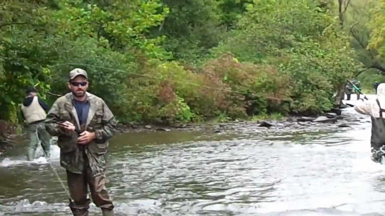 Pulaski ny salmon river fishing youtube for Salmon fishing pulaski ny