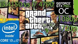 GTA 5 / V - i3 4150 vs i7 4790 - 8GB RAM - GTX 750 ti OC - 1080p - 720p - Side By Side Comparison