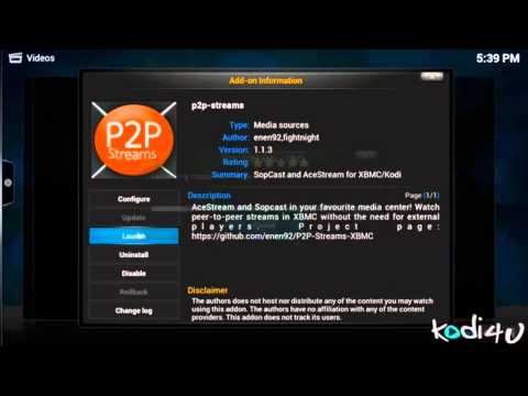 How to Install P2P Streams Addon For .Kodi - XBMC 2015