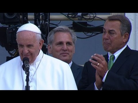 John Boehner cries during Pope Francis' speech