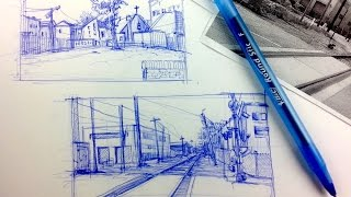 Urban Sketching & Drawing Outdoor Scenes Pt 3   Breakdown a scene to simple flat shapes