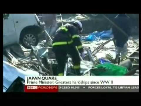 Japan 2011 Earthquake 15 - Aftermath Day 2 (2 of 2) - BBC News Reports 13.03.2011