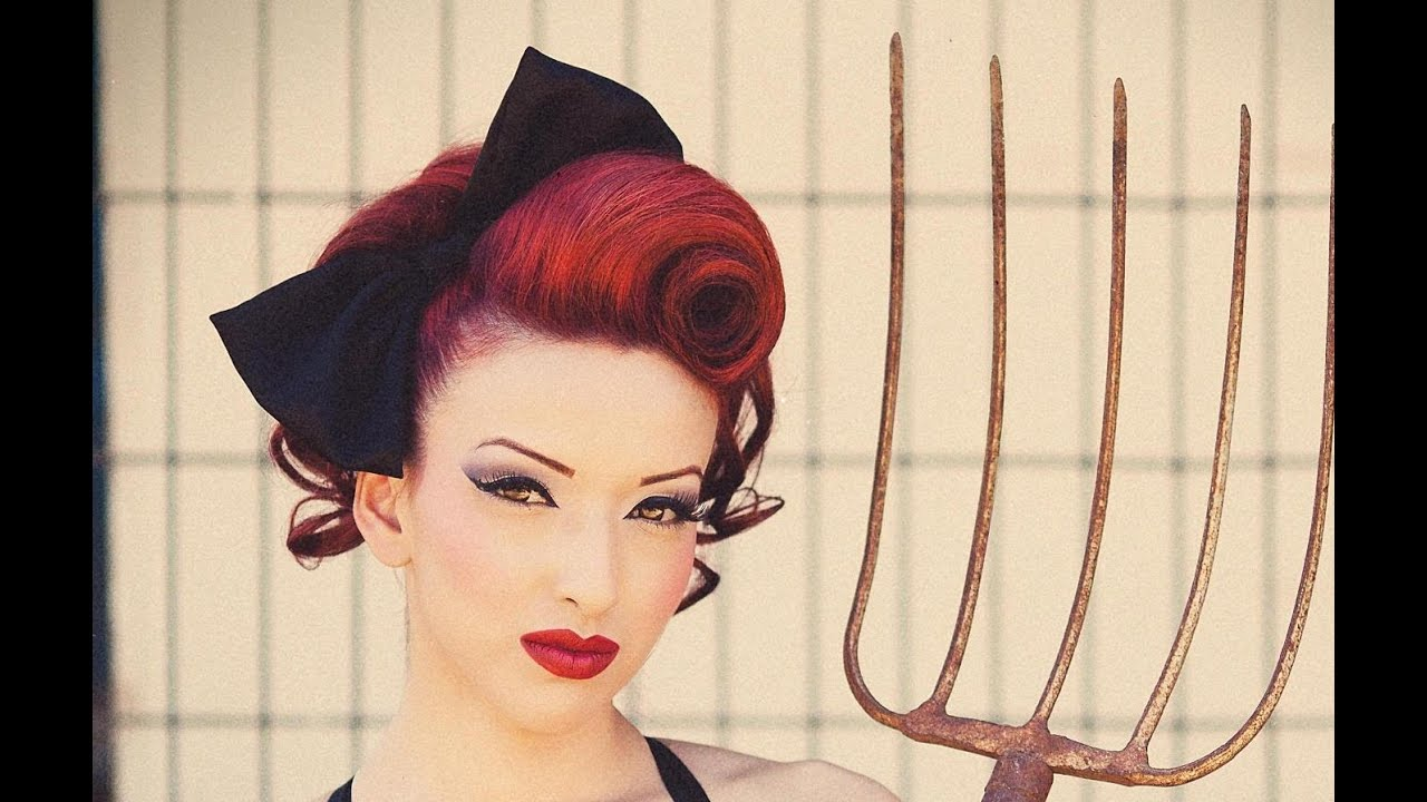 Pinup swirl vintage inspired hairstyle youtube