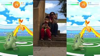 Trolling my kid, duo Moltres and catching shiny #LikeABoss