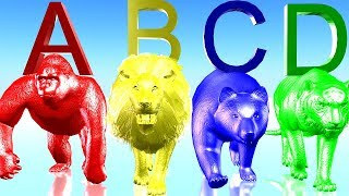 Learn Colourful ABCD & Animals Sounds Colour Song || 3D Popular Animals ABCD Nursery  Rhymes