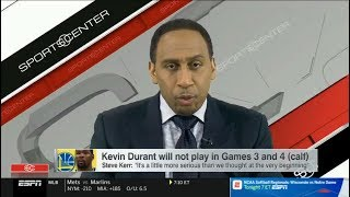 ESPN FIRST TAKE | Stephen A. Smith REACT: Kevin Durant will not play in Games 3 and 4 (calf)