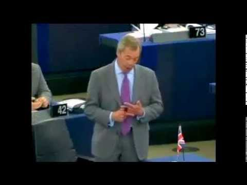 Nigel Farage; Jean Claude Juncker EU President Drunk drinks Cognac for breakfast?