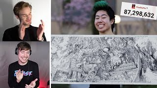 Pewdiepie & MrBeast Review my Art! - Drawing Pewdiepie for 24 Hours Straight!