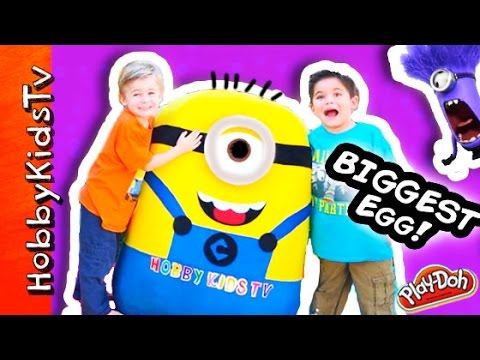 Worlds BIGGEST Minion Egg Surprise! Play-Doh. Giant Toys Inside + Despicable ME Candy HobbyKidsTV