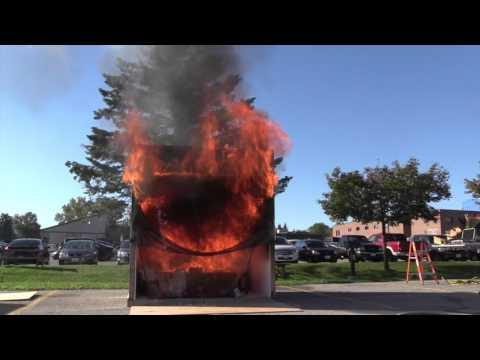 Burn fire safety demonstration video cover image