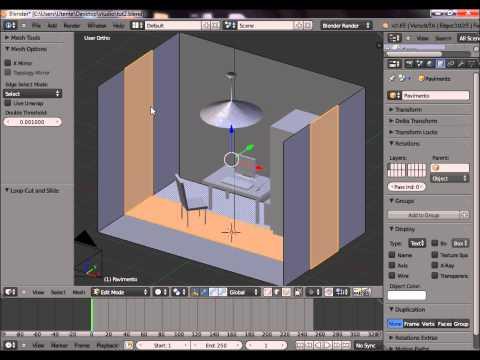 Costruzione di una stanza in Blender per AGS: armadio, lampadario, porta, pareti e altro.