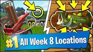 *ALL* Fortnite WEEK 8 CHALLENGE LOCATIONS | FISH THROPHY, CLAY PIGEON SHOOTER (Season 6 Week 8)