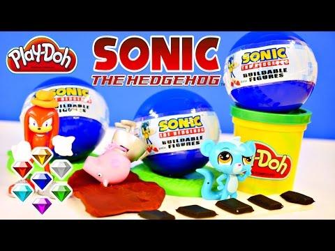 Surprise Eggs Sonic The HedgeHog Buildable Toys Play Doh Littlest Pet Shop Peppa Pig Race