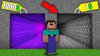 Minecraft NOOB vs PRO: NOOB BOUGHT PORTAL TUNNEL FOR 1000$ VS BEDROCK TUNNEL FOR 1$! 100% trolling