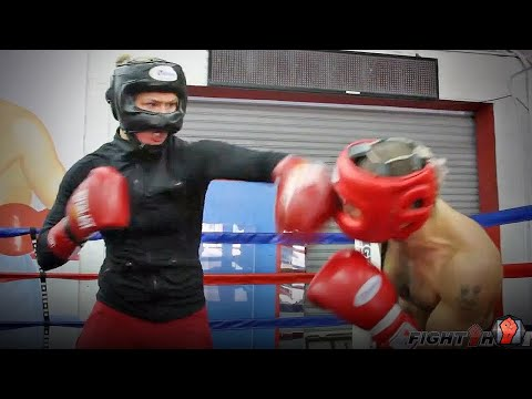 Ronda Rousey and Vic Darchinyan sparring Image 1