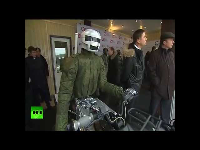 Military cyborg biker presented to Putin
