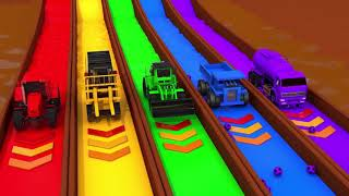 Learn Colors Construction Vehicles and Flying Toy Car in Magic Water Nursery Rhymes & Kids Songs