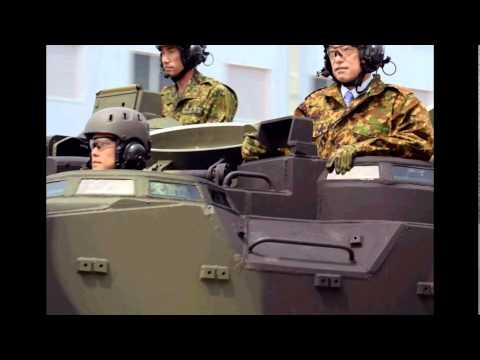 Defense Minister Onodera Inspects Amphibious Vehicle